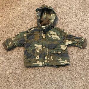 Camo colored jacket with hood sz 12M